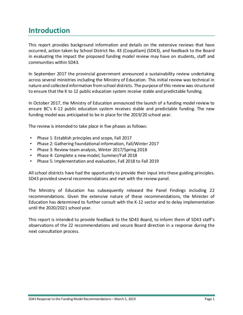 2 March 2019 SD43 Funding Model Review - Board Response 030